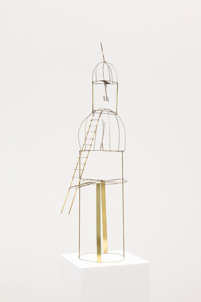 A close up view of brass sculpture Memory Palace (Fire Escape), 2020 by Robin Cameron