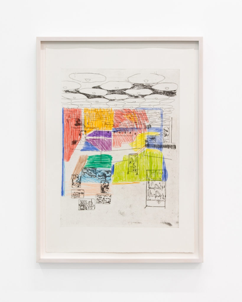 Detail view of drawing and etching Memory Palace (Lobby), 2019 by Robin Cameron